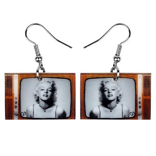 NA - Pendientes acrílicos de diseño moderno para TV, joyas hipster únicas para