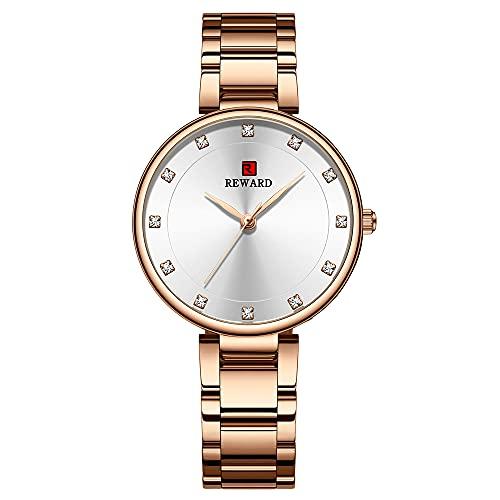 KLFJFD Reloj De Cuarzo Impermeable De 30 M con Escala De Diamantes De Imitación Informal De Negocios para Mujer