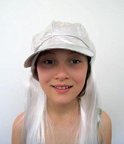 Mondial-Fete - Casquette Vinyle Argent avec Cheveux Blanc.