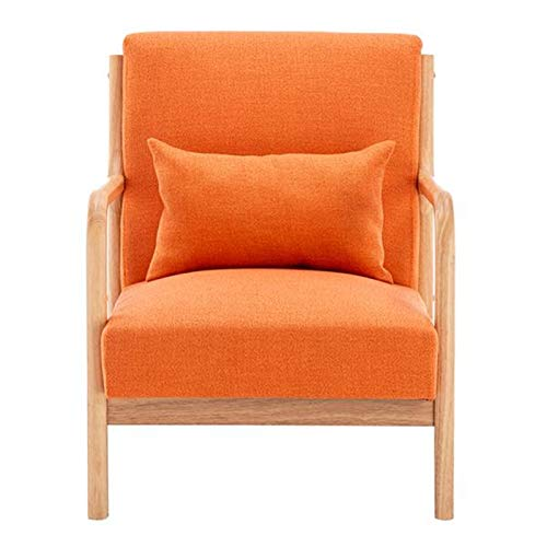 Wuzhengzhijia Fabric Oak Sofa Chair, Rubber Wood Solid Wood Frame, Modern Fabric Sofa Lounge Chair, Comfortable Sedentary Single Chair, Fabric Sofa Chair with Armrests (66 X 68 X 75cm)