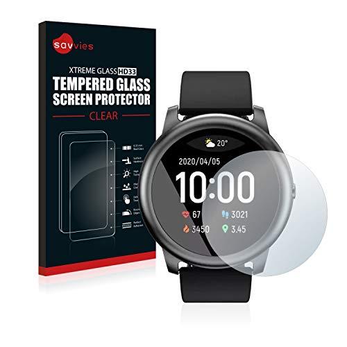 savvies Protector Cristal Templado Compatible con Xiaomi Haylou Solar LS05 Protector Pantalla Vidrio, Protección 9H, Pelicula Anti-Huellas