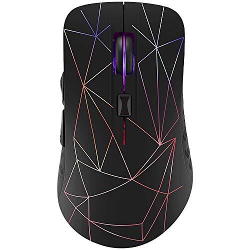 Souris sans fil rechargeable pour jeux avec Bluetooth 4.0 et 2,4 G de mode double, 6 boutons récepteur Nano 2,4 GHz sans fil avec style 3D multicolore LED.