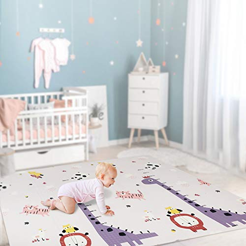 beiens Baby Play Mat Portable Folding Extra Large Baby Crawling Mat Waterproof Non Toxic AntiSlip Soft Foam Reversible Playmat for Infants Toddler Kids 77 x 70 inch
