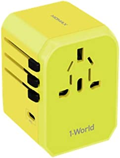 XIMINGJIA-O Power Plug Adapter - International Travel - 4 USB Ports in Over 150 Countries - 100-240 Volt Adapter - (1 Pack) Gold International Converter, (Color : Yellow)