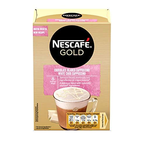 NESCAFÉ GOLD CHOCOLATE BLANCO CAPPUCCINO, cremoso café soluble con leche desnatada, Estuche...