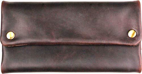 Umweltfreundliche Drehertasche Tortuga Verde Leder 15.5cm Zigarettenpapierfach Magnethalter f. Feuerzeug in Geschenkverpackung (Dunkelbraun)