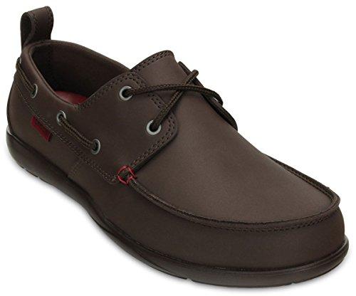 crocs Men's 15938 Walu Boat Shoe,Mahogany/Brick Red,10 M US