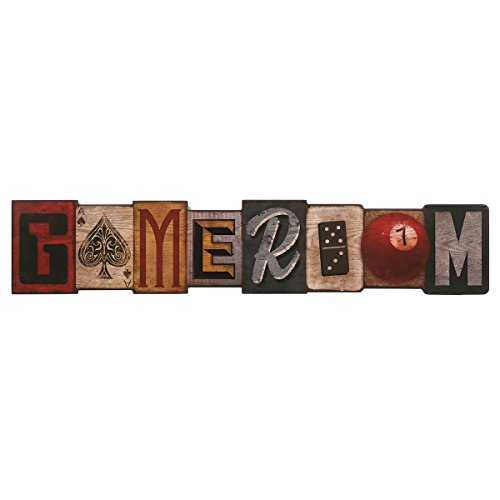 Open Road Brands Game Room Wood Wall Décor - Large 36 Inch x 7 Inch Vintage Sign for Man Cave, Game...