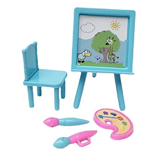 Non-brand Vintage casa de muñecas Mini Tablero de Dibujo Estudio 1/12 Escala simulación Juego Conjunto de Vida Escena decoración niños Juguete
