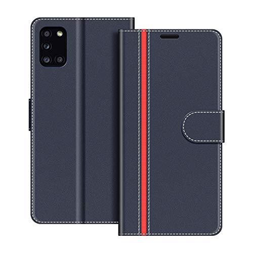 COODIO Handyhülle für Samsung Galaxy A31 Handy Hülle, Samsung Galaxy A31 Hülle Leder Handytasche für Samsung Galaxy A31 Klapphülle Tasche, Dunkel Blau/Rot