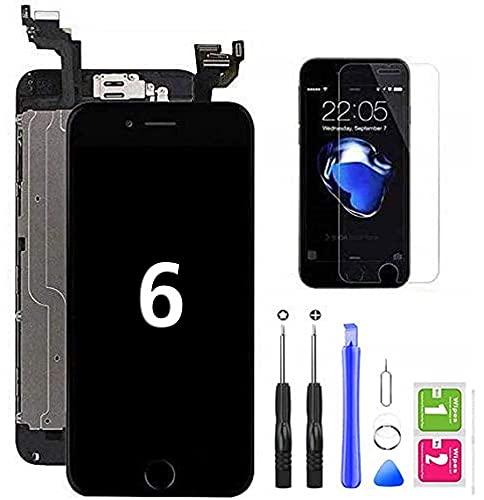 Hoonyer Display per iPhone 6 Touch Screen LCD Digitizer Schermo 4,7' Utensili Inclusi(con Pulsante Home, Fotocamera, sensore Flex) Nero