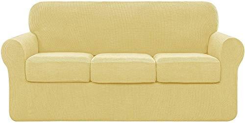 JIAYOUFC Fundas para Sofauniversal para sofá con 2 Fundas de cojín separadas, poliéster elástico y Spandex, Funda de Repuesto para sofá, Protector Antideslizante para Muebles (Amarillo Claro, 3