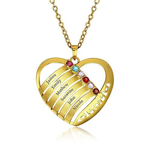 Personalisierte Familienmitgliedernkette - Halskette mit Steinen - Geburtssteinkette - mit Gravur 6 Namen (Gold,55cm)