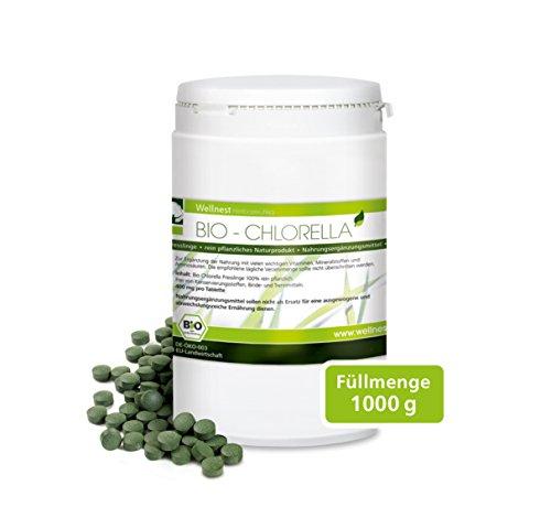 Wellnest Bio Chlorella 1000 g | Detox Superfood vegan | Algen reich an Mineralstoffen, Vitaminen und Spurenelementen | 5.000 Presslinge á 200 mg | Rückstandsgeprüft in deutschem Labor