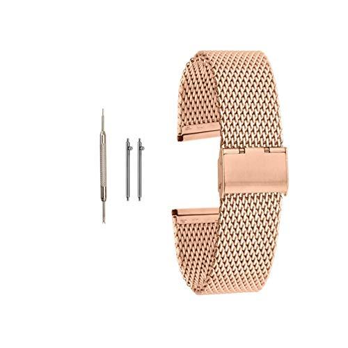 Muen Bracelet de montre à boucle en acier inoxydable doré rose 20 mm Compatible avec montre Samsung Smart Huawei Watch 22 mm 20 mm (20 mm, or rose)