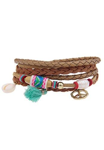 Leslii Damen Wickel-Armband Hippie Look Peace Veganes Leder-Armband braunes Modeschmuck-Armband Länge 38cm in Braun Bunt