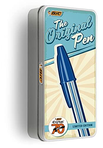 BIC Cristal Set de Bolígrafos de Edición Limitada 70.ºAniversario con Caja Metálica Reutilizable - Varios Colores y Puntas de Distintos Tamaños, Caja de17