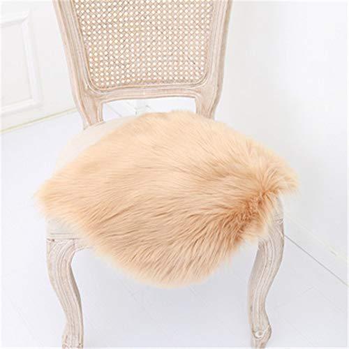 Nicole Knupfer 1 Stück Sitzkissen, Faux Lammfell Sitzkissen, Schaffell Sitzauflage Optik Nachahmung Wolle Sofa Matte (Kahki,45cm*45cm)
