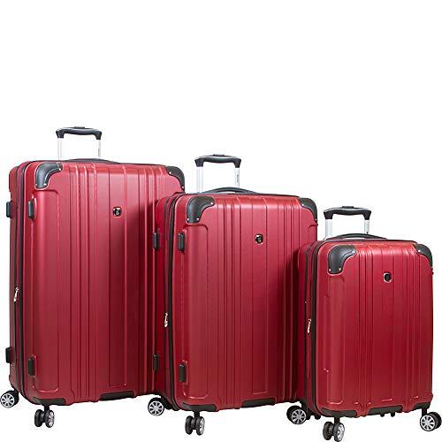 Dejuno Kingsley Abs 3-piece Hardside Spinner Luggage Set, Burgundy