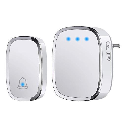 YYQ Campanello Senza Fili da Esterno Impermeabile IP44, Wireless Doorbell con Raggio d'Azione 300M, Indicatore LED, 1 Trasmettitore Pulsante e 1 Ricevitore, 5 Volume Regolabile, 36 Suonerie (Bianco)