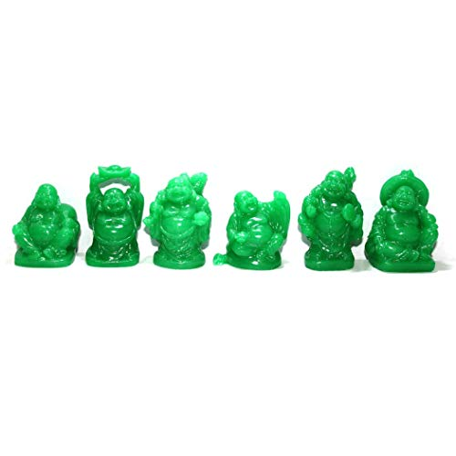 Addune Set of 6 Laughing Buddha Statue Happy Figures Luck & Wealth Feng Shui Decor Good Luck Gifts (Jade Color, 2'')