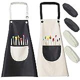 YFKJEU 2 Stück Kinder Schürze, Wasserdicht Kinderschürze für Jungen Mädchen, Verstellbare Kochschürze mit Taschen, Kinderschürze für Malen Backen Koche (7-12 Jahre)