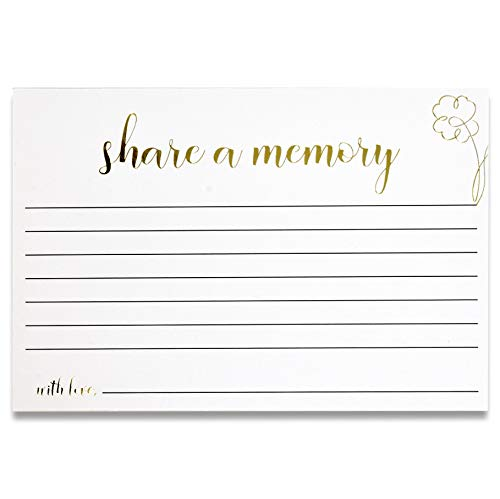"""50 Share A Memory Cards 4"""" X 6"""" White with Gold Foil Note Card Write And Sign For Birthday Graduation Anniversary Wedding Celebration of Life Retirement Funeral Memorial Bridal Shower Game Party"""