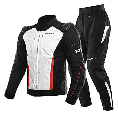 Traje de moto verano hombre 2 piezas con protecciones y reflectores Chaqueta y pantalón de moto de Motocicleta textil, cómodo y transpirable