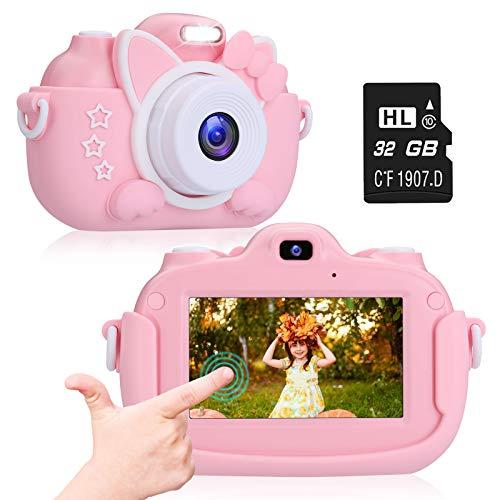 ACTION Appareil Photo Enfants Écran Tactile de 3 Pouces Mini Numérique Caméra pour Enregistrement d'écran vidéo 1080p HD Cadeau d'anniversaire Jouet pour Les Enfants de 3-12 Ans 32G TF Carte