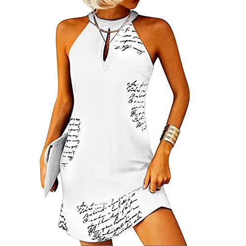 Neckholder Kleid Damen Kurz Sommerkleid Boho Kleid Knielang Freizeitkleid Rundhals Halfter Shirtkleid Ärmellos Aushöhlen Minikleid T-Shirt Bluse Tunika
