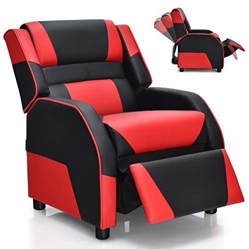 Giantex Kids Recliner, Kids/Youth Gaming Recliner Chair, Racing Style Game Sofa with Headrest and Lumbar Support, Ergonomic PU Leather Armchair Lounge Chair for Living & Gaming Room (Red)
