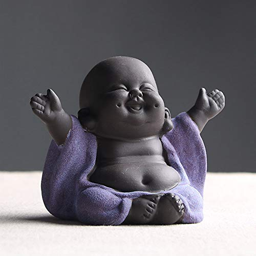 Ceramic Laughing Buddha Statue Maitreya Happy Buddha Statue Little Cute Baby Monk Figurine Buddha Figurines Home Decor Creative Crafts Dolls Ornaments Gift Delicate Ceramic Arts and Crafts (Purple)