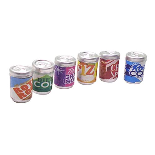 chiwanji 1/12 Casa de Muñecas en Miniatura Jugo de Refresco Botellas de Refresco 6 Piezas de Sabor Mixto