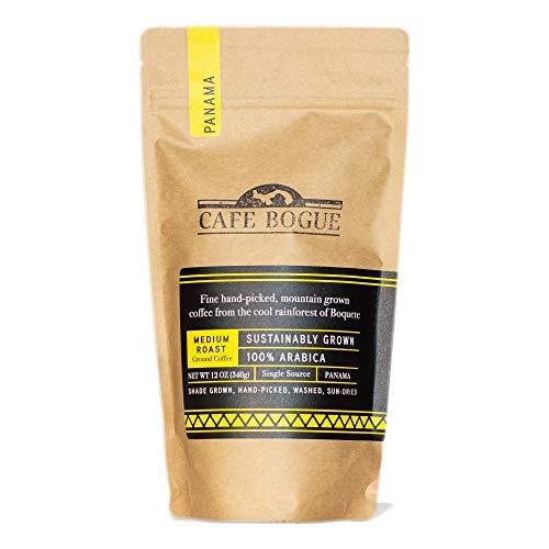 CAFE BOGUE - Hand-Picked, Shade-grown from Boquete-Panama, Medium Roast, Premium Ground Coffee, 100% Arabica, 12oz (1Bag)