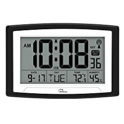 WallarGe Atomic Clock,Digital Wall Clock or Desk Clock,Battery Operated,Self-Setting Digital Alarm Days Clock Large Display for Seniors,Temperature, Humidity and Date,Auto DST.