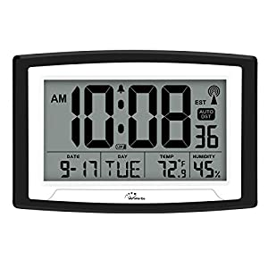 WallarGe Atomic Clock,Digital Wall Clock or Desk Clock,Battery Operated,Self-Setting,Large Digital Display Clock, with Temperature, Humidity and Date,Easy to Read.