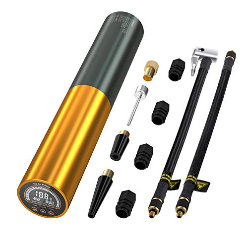 AUTDER Electric Bike Pump Mini Tyre Inflator, 3000mAh, 0-120psi, Bicycle Air Compressor With 100 Lumens Led And Light Lcd Screen - UK Plug