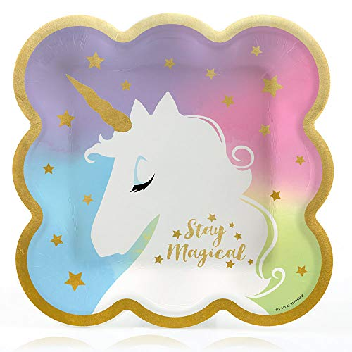 Unicorn with Gold Foil - Magical Rainbow Unicorn Baby Shower or Birthday Party Dinner Plates (16 Count)