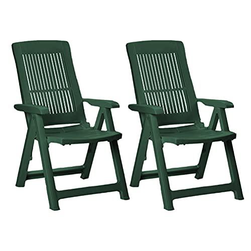 Mojawo 2 Stück Bequemer Klappstuhl, Campingsessel für Terrasse, Garten, Balkon und Camping - 5-Fach Verstellbarer Gartenstuhl - witterungsbeständiger Positionssessel - Grün