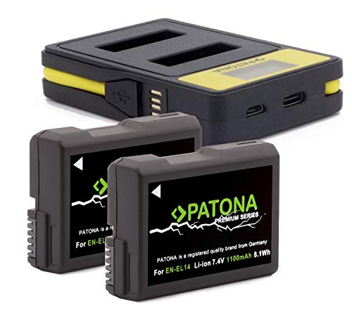 Patona Premium - 2X Ersatz für Akku Nikon EN-EL14 EN-EL14a (1100mAh) und LCD USB Dual Ladegerät 141622