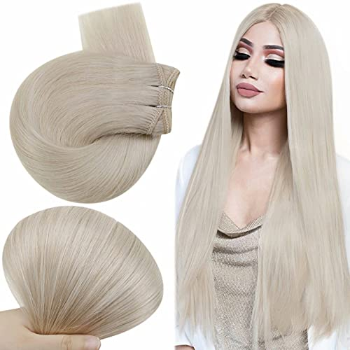 Easyouth Hair Weft Hair Extensions Natural Brazilian Human Hair Weave Weft 1000 White Blonde Sew in Hair Extensions Remy Hair for Women 18 Inch 80g