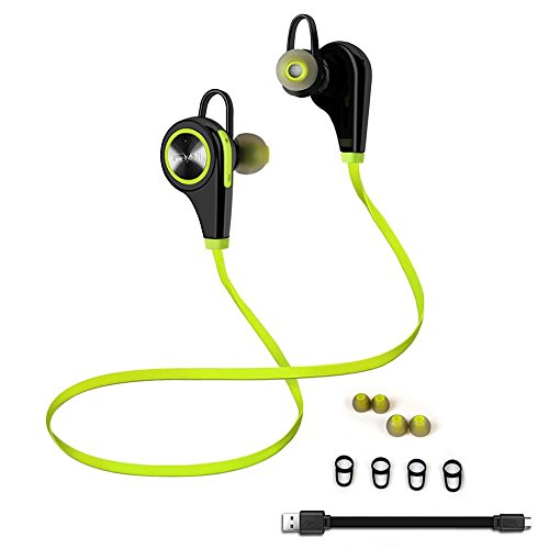 Emixc Wireless Sweat proof Bluetooth Noise Cancelling In-Ear Stereo Earphone with Built-in Mic for Iphone, Android and Windows Smartphone - Lime Green