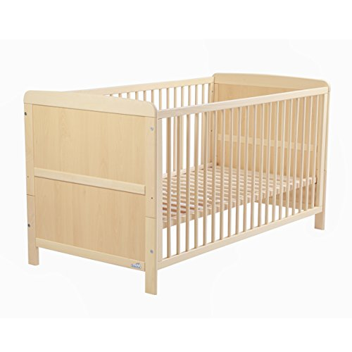 Geuther - Kinderbett Pascal, umbaubar zum Jugendbett, höhenverstellbar, Schlupfsprossen, natur
