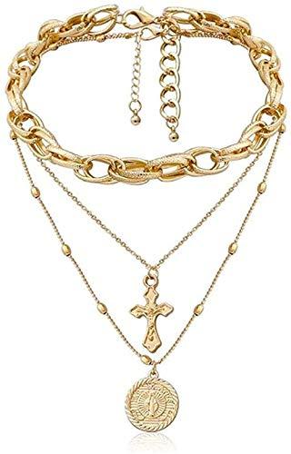 WYDSFWL Collar de múltiples Capas de acera Cubana Gargantilla Conjunto de Collar crucifijo Jesús Diosa Colgante Collares Regalo de la joyería