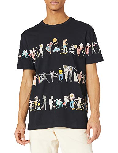 Desigual TS_Cain Camiseta, Negro, S para Hombre