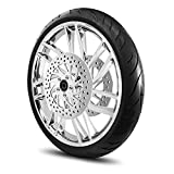 21X3.5 Rise Wheel for Harley Touring Bagger 2000-2007 Models w/Tire & Rotors (w/bolts) (Chrome & Black Wall Tire)