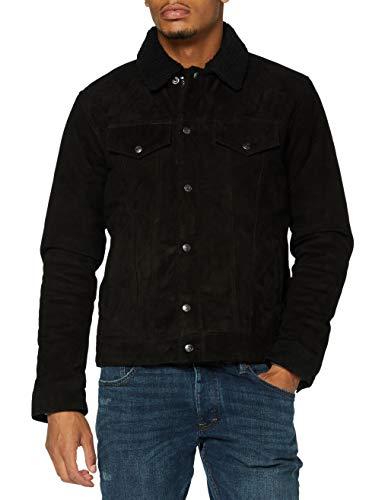 Schott nyc LCRANCH Leather Jacket, Black/Black, Large Mens