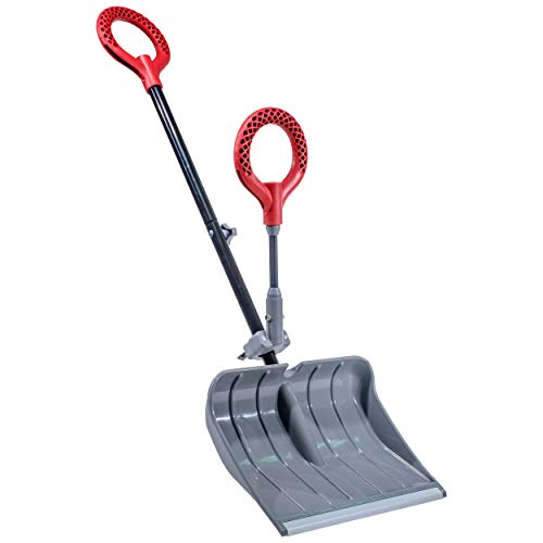 """Radius Garden 90111 18"""" Poly Lightweight Snow Shovel with Back-Saving Fore-Grip, Solid Grey"""