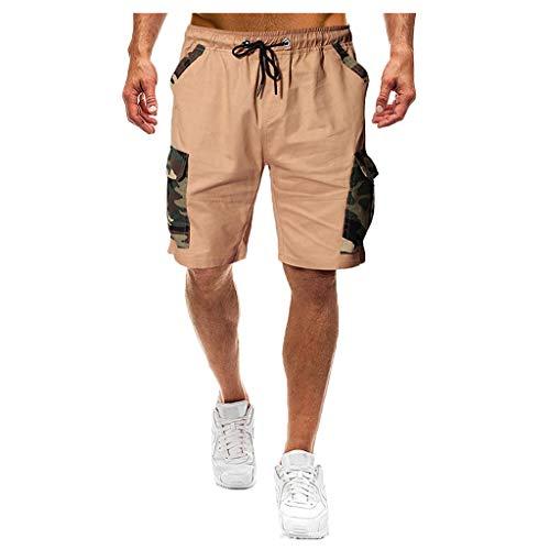 MOTOCO Herren Casual Print Shorts Sommer Sport Camo Cargo Shorts elastische Taille Tasche(M,Khaki-1)
