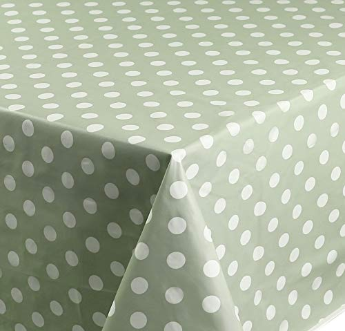 Rectangular Oilcloth PVC Wipe Clean Tablecloth 140cm x 200cm 55x78 Polka Dot (Sage Green)